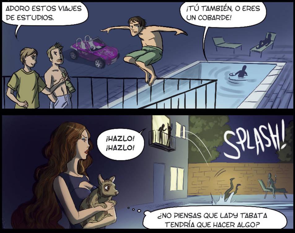 Pàgina del còmic dels locals d'oci nocturn de Salou