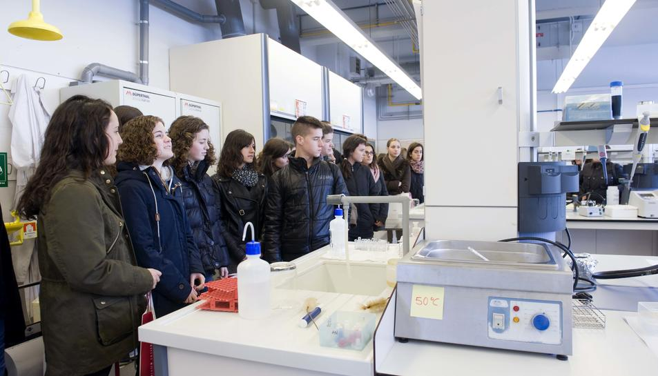 Imatge de l'interior de la Facultat de Física i Química, situada al Campus Sescelades.