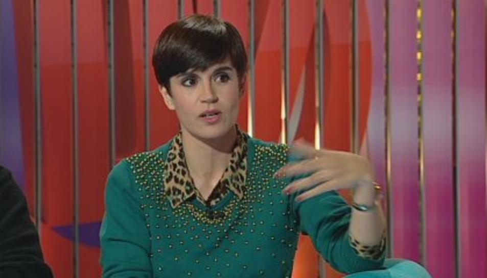L'actriu Agnès Busquets durant una entrevista a TV3.