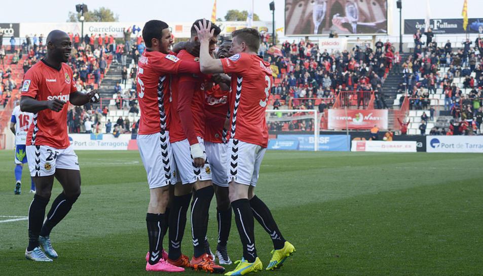Els jugadors del Nàstic, celebrant el gol contra la Ponferradina