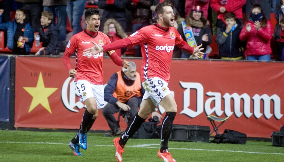 Álex López, celebrant el gol que va marcar contra el Llagostera a la primera volta del campionat de Lliga.