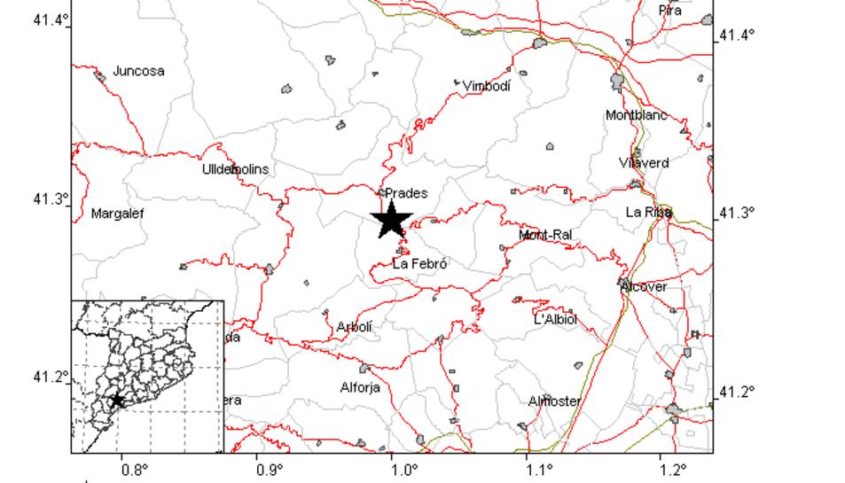Localització provisional de l'epicentre del terratrèmol efectuada amb els enregistraments.