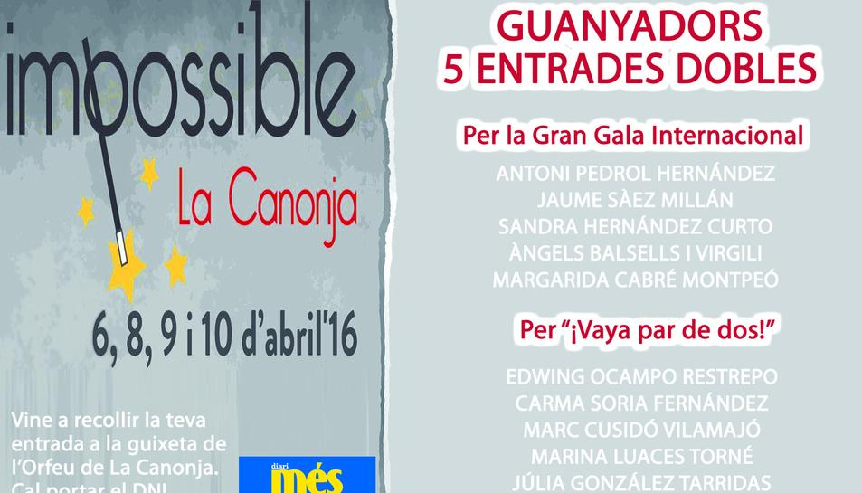 Consulta els guanyadors de les entrades per a 'Impossible'