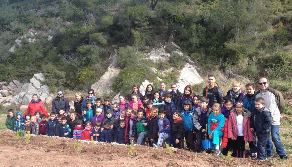 Els infants participants en l'activitat han plantat arbres i plantes aromàtiques.