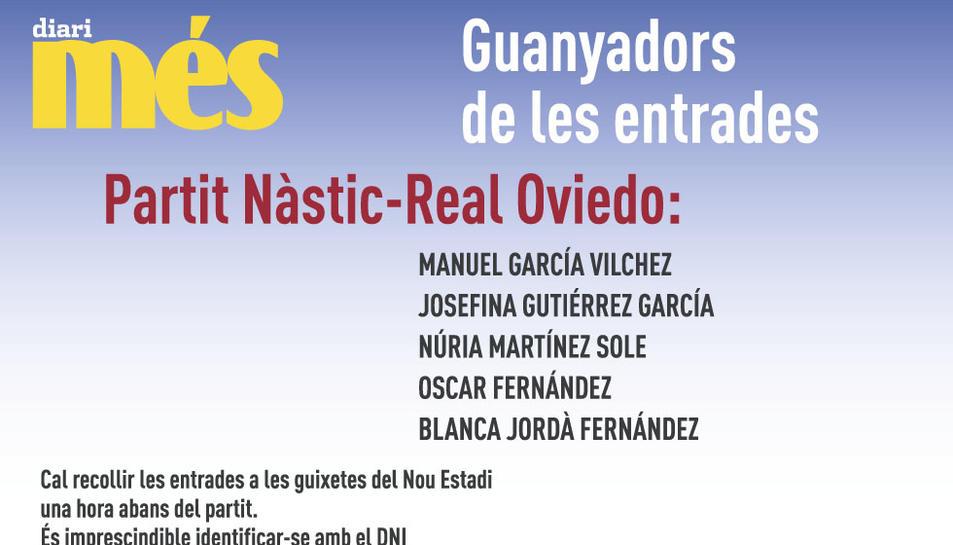 Consulta els guanyadors de les entrades pel Nàstic - Oviedo