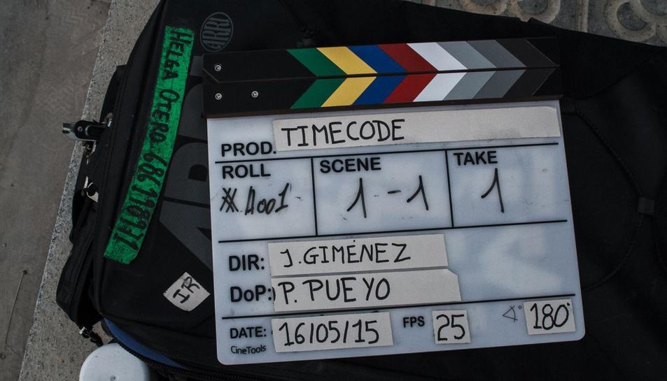 Imatge de la claqueta durant el rodatge de 'Timecode'.