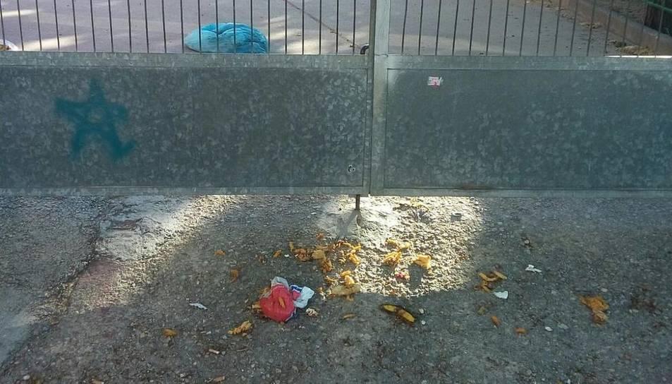 Denuncien brutícia i orins prop de l'entrada de l'Escola Torreforta