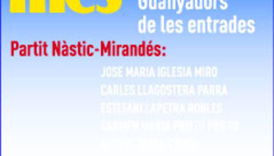 Consulta els guanyadors de les entrades pel Nàstic - Mirandés