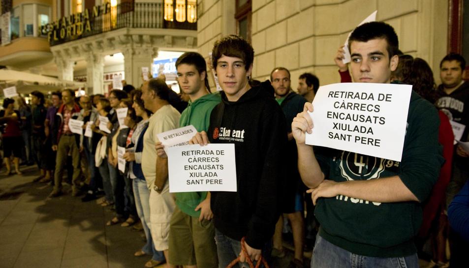 Protesta per demanar que absolguin l'encausat per la xiulada de Sant Pere del 2012