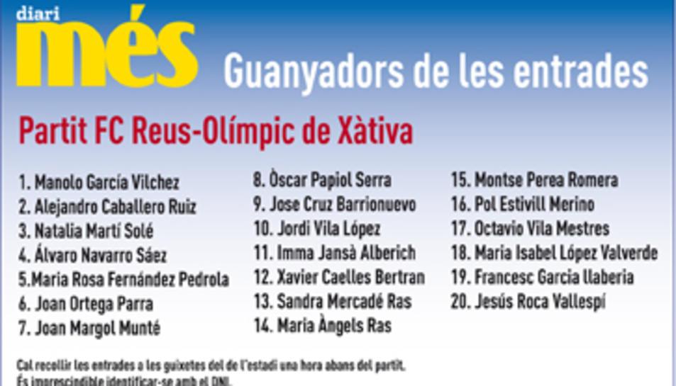 Consulta els guanyadors de les entrades pel CF Reus - Olímpic de Xàtiva