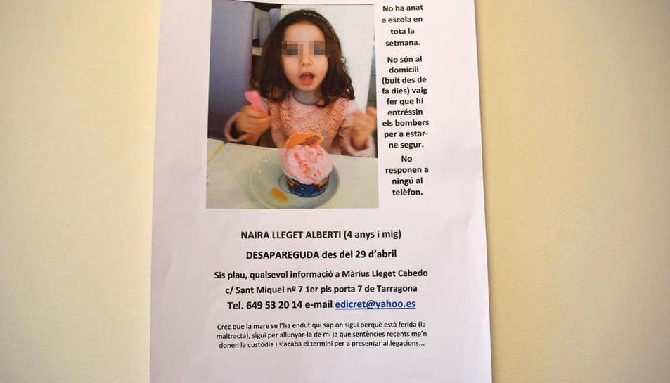 El pare, que té la custòdia de la petita, va denunciar el segrest de la nena en mans de la seva exdona.