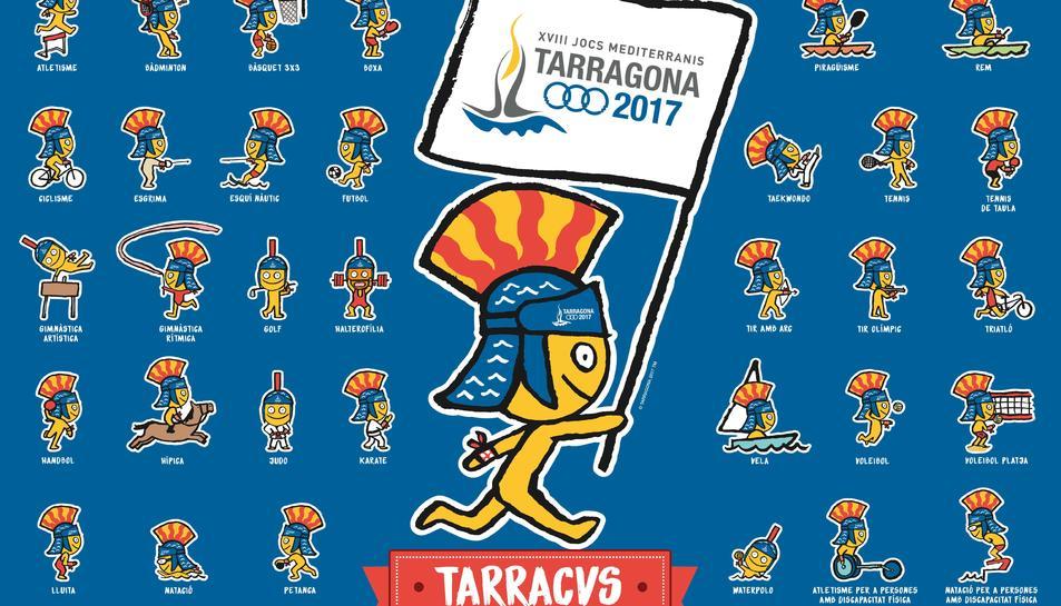 Aplicacions de la mascota Tàrracvs dels Jocs Mediterranis amb els diferents esports