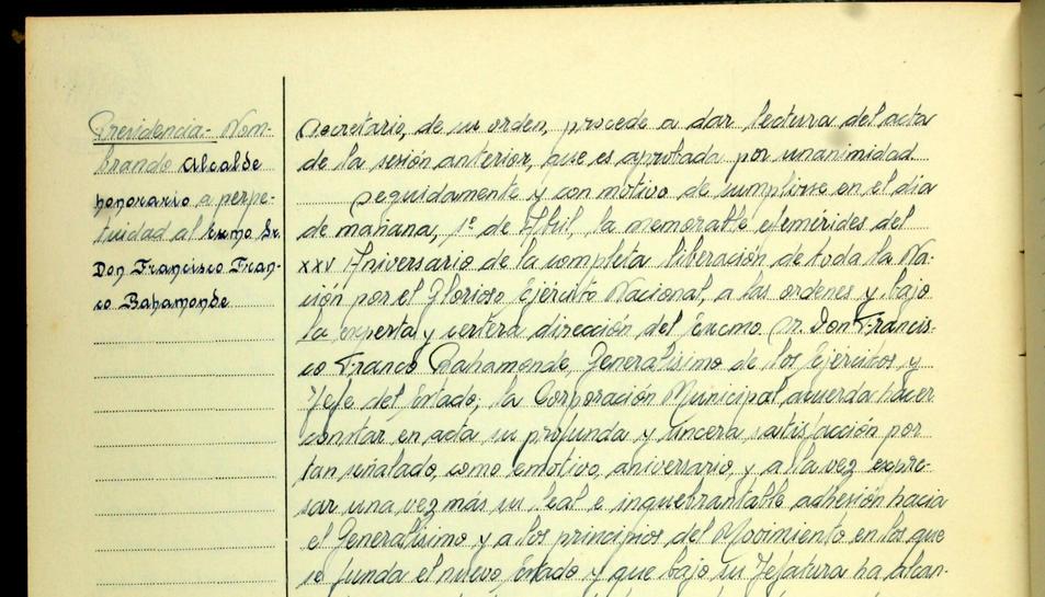 Cunit ja no tindrà  Franco com alcalde honorífic i 'perpetuo'