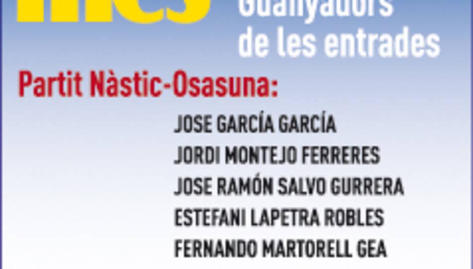 Consulta els guanyadors de les entrades pel Nàstic-Osasuna