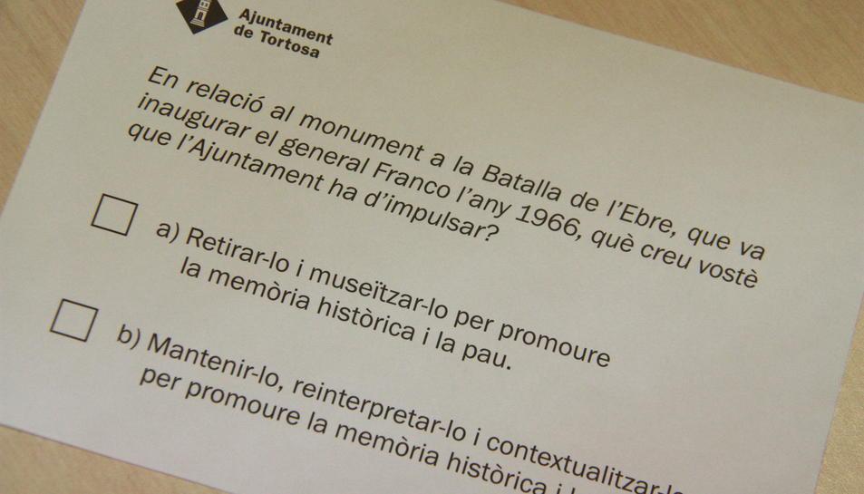 Papereta per a votar a la consulta del monument franquista del 28-M