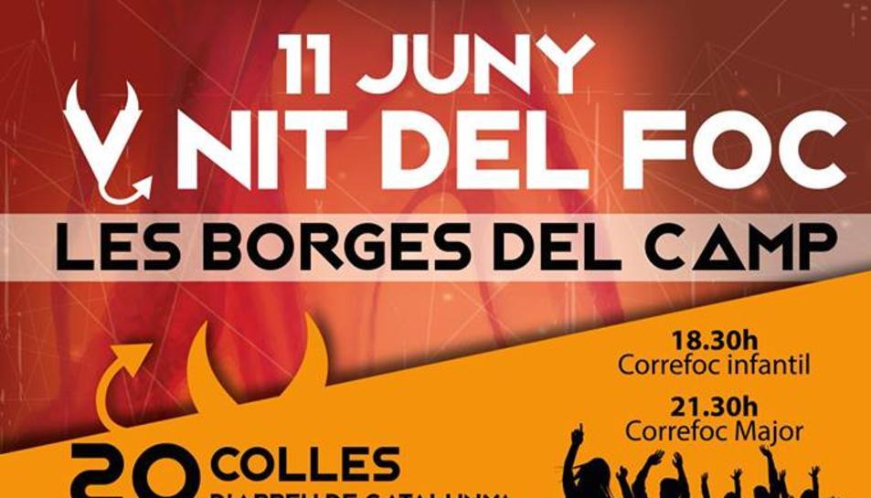 Cartell de la cinquena edició de la Nit del Foc de les Borges del Camp.