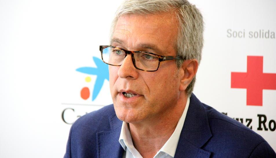 Primer pla de l'alcalde de Tarragona, Josep Fèlix Ballesteros, intervenint en roda de premsa l'1 de juny del 2016