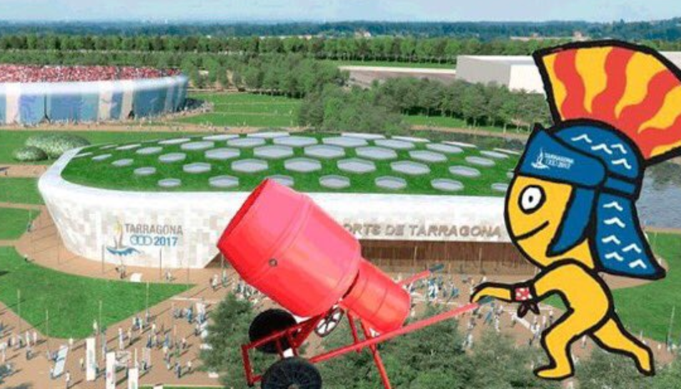 'Meme' que ensenya la mascota Tarracus construint el Palau d'Esports.