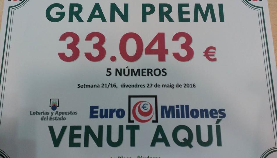Els cinc números premiats els va comprar la mateixa persona.