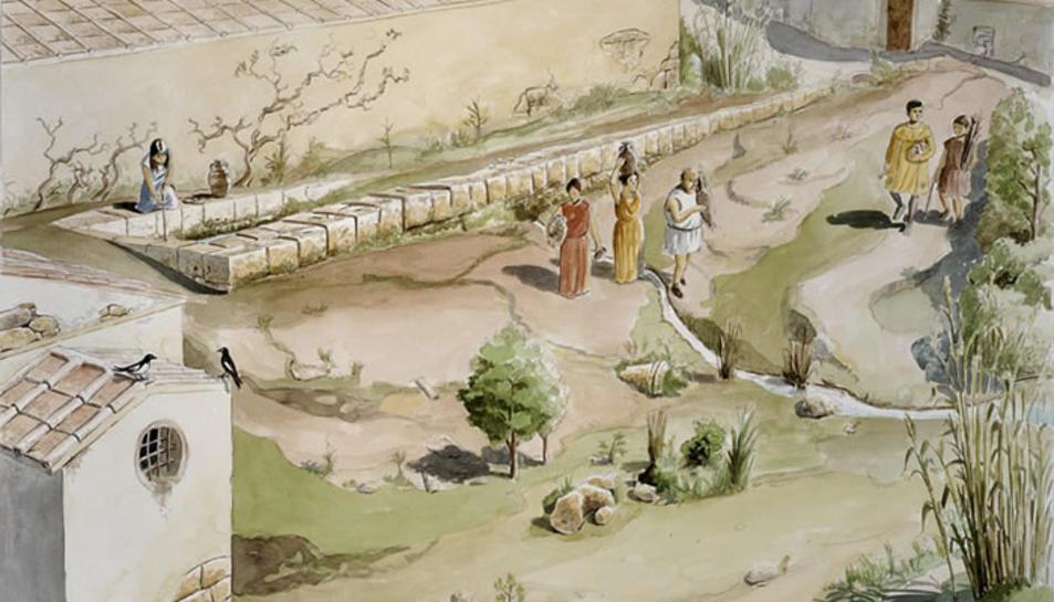 """Dibuix reconstructiu de la fase tardana (s. IV – VII dC) de la """"font dels lleons"""""""