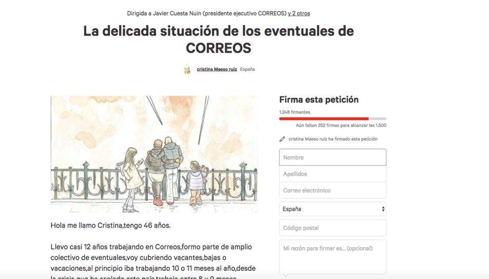 Una tarragonina inicia una campanya a Change.org per modificar els 'contractes eventuals' de Correos