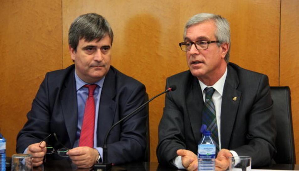 Miguel Cardenal, president del CSD i Josep Fèlix Ballesteros, en una roda de premsa el passat mes d'octubre.