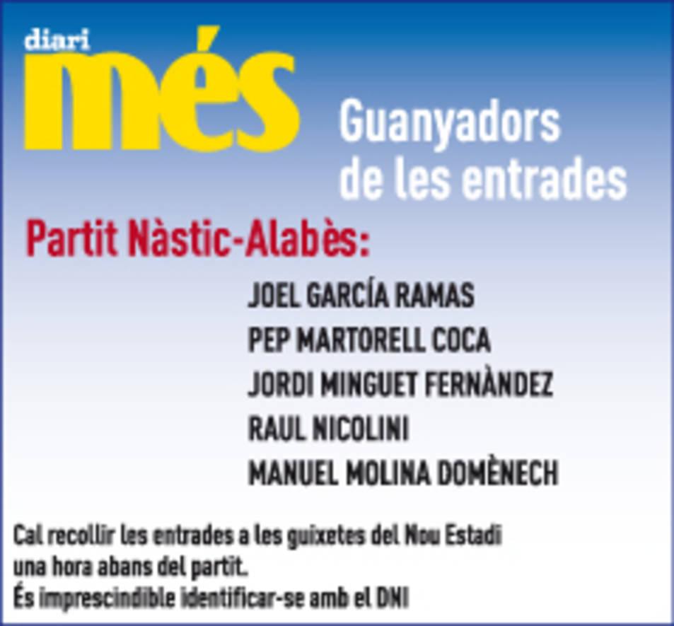 Consulta els guanyadors del Nàstic - Alabès