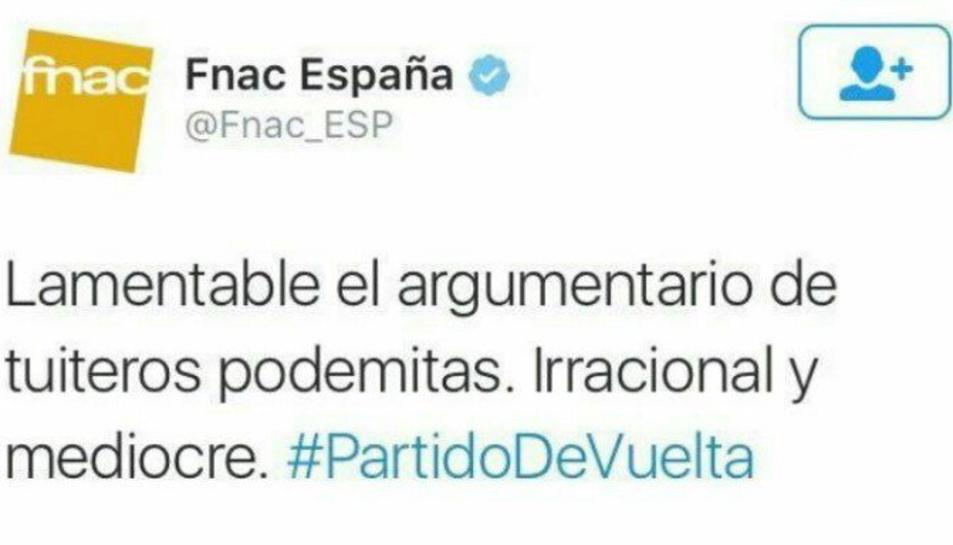 Una piulada d'Fnac España incendia les xarxes