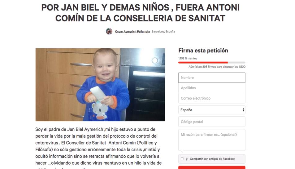 El pare d'un nen que va patir l'enterovirus crea una petició perquè Comín deixi la conselleria de Salut