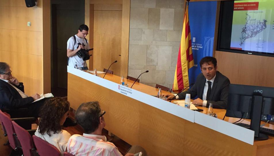 Xavier Flores, director general d'Infraestructures de Mobilitat Terrestres, aquest dilluns durant la presentació.
