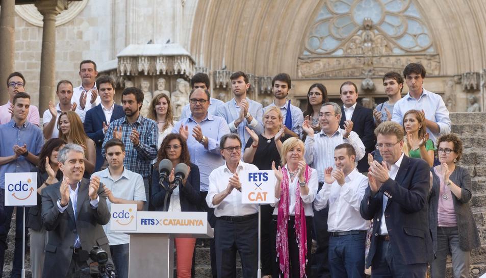 Les escales de la Catedral han estat l'escenari de l'acte central de campanya a Tarragona.