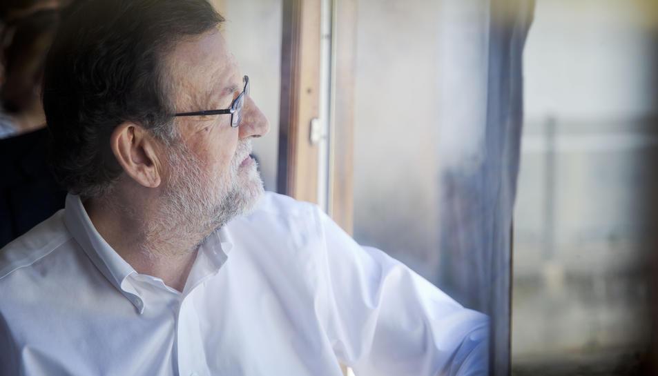 Imatge del president del Govern espanyol durant la visita que ha fet a Soller.