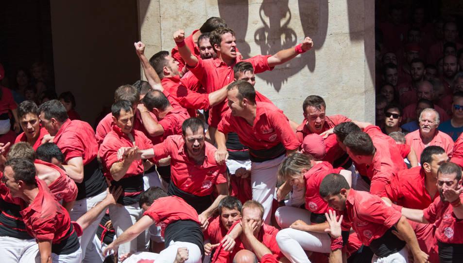 Celebració dels castellers de la Colla Joves.
