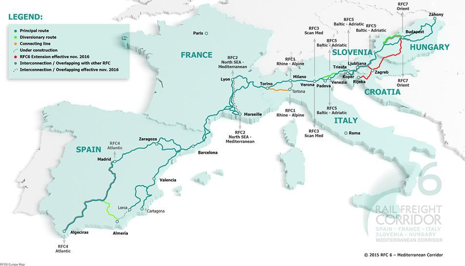 Imatge del projecte de corredor Mediterrani d'abast europeu.