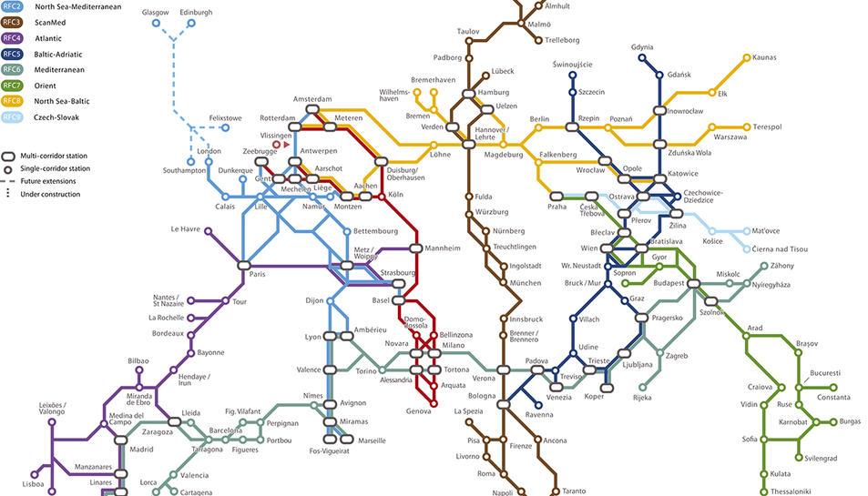Traçats de RainNet de projectes i corredors ferroviaris a Europa
