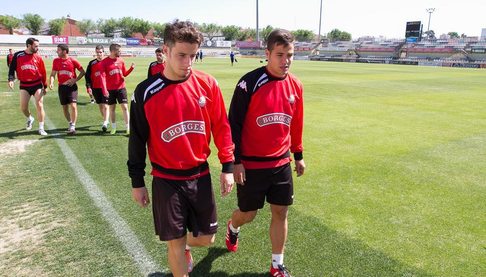 Ricardo Vaz i Samu, al primer entrenament després de l'ascens.
