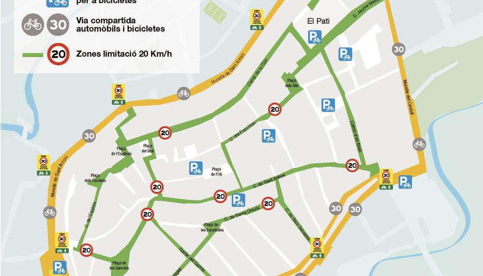 Plànol del barri Antic amb la senyalització i els aparcaments de bicicletes previstos
