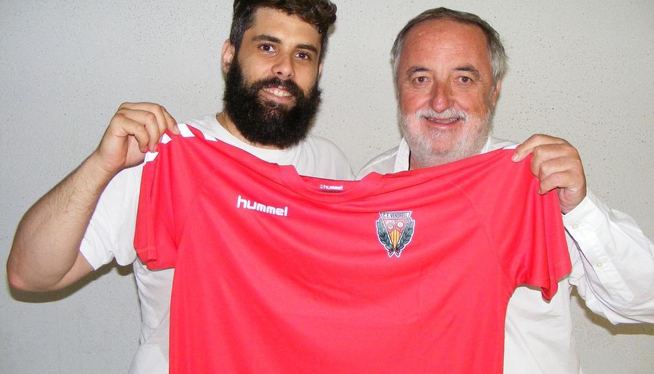 Roger Molina, amb el president, Víctor Romagosa