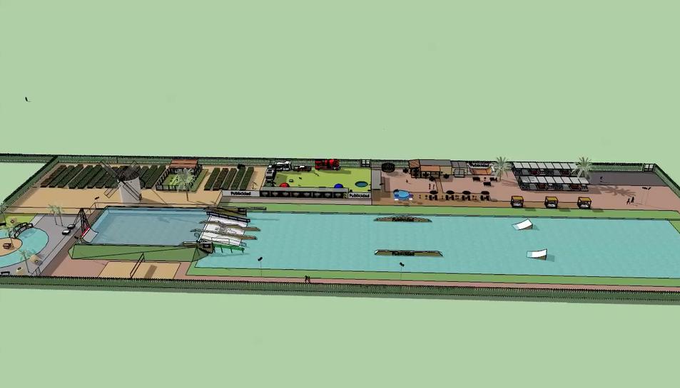 El nou parc comptarà amb làmines d'aigua sobre les quals es podrà practicar esports nàutics amb un cableski, que simula l'impuls d'una embarcació.
