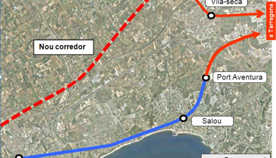 Proposta de traçat del tramvia entre Cambrils i Tarragona.