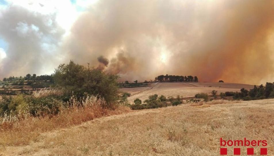 Un incendi agrícola i forestal crema a Rocallaura