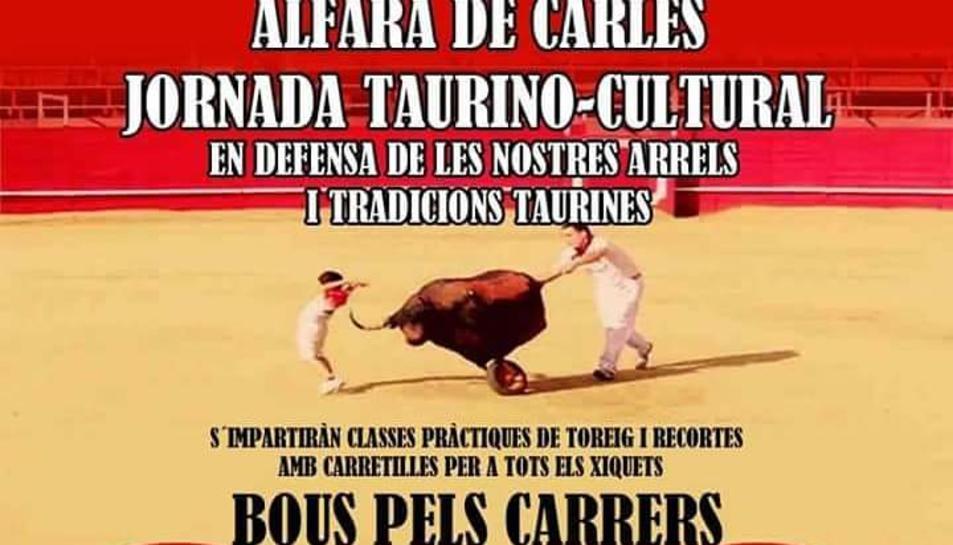 El cartell que anuncia la jornada taurina a Alfara de Carles.