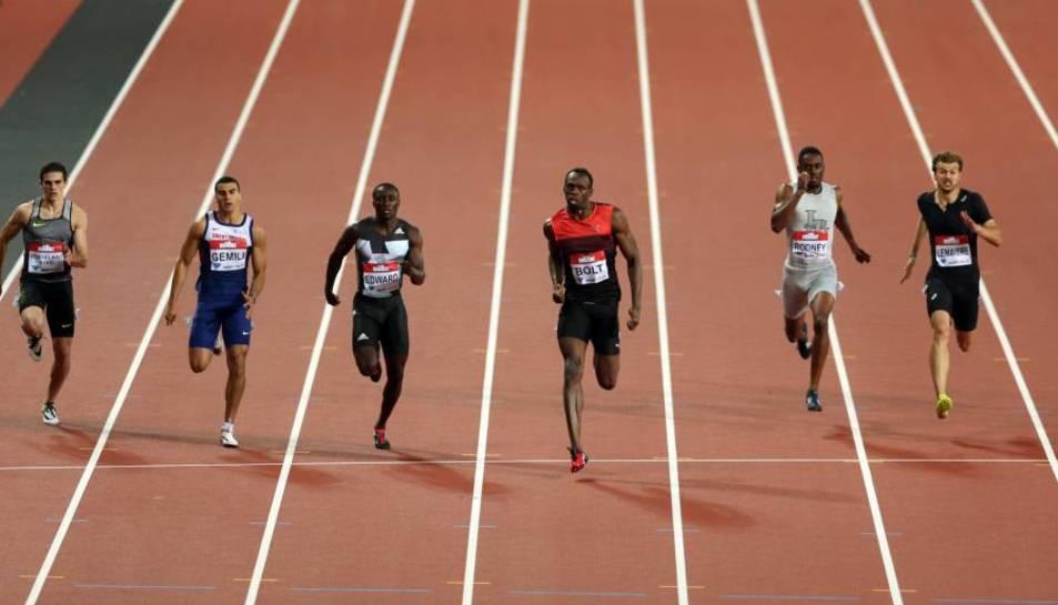 Bolt, al centre els va imposar i Hortelano (esquerra) va arribar quart.