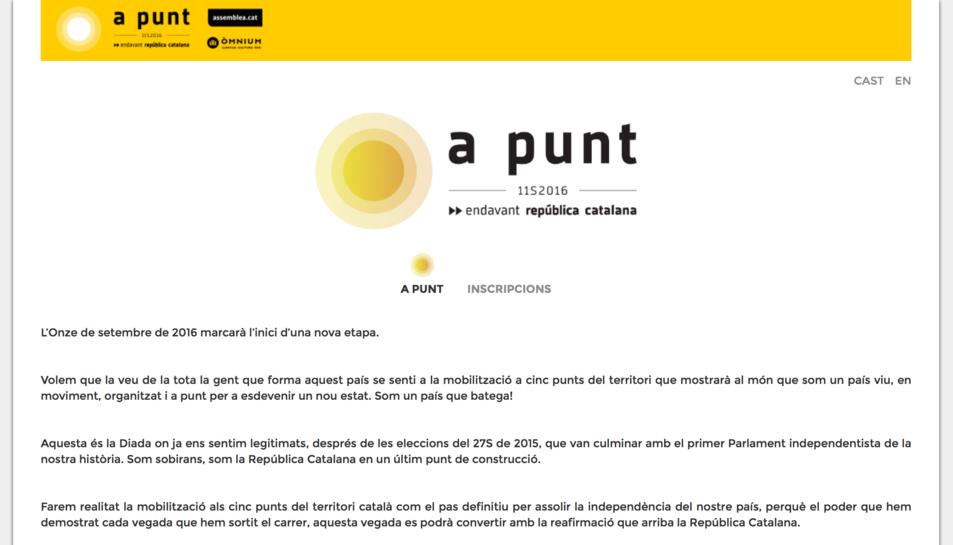 Imatge de la web on poden formalitzar-se les inscripcions.