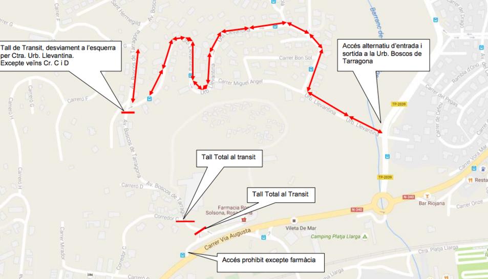 Afectacions al trànsit a Boscos per l'arranjament d'una avaria elèctrica