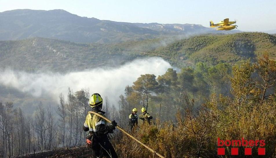 Imatge dels Bombers remullant la zona de l'incendi.