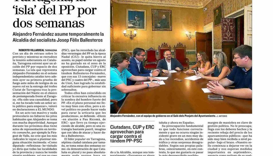 Article de El Mundo dedicat al Partit Popular que assumeix la governabilitat de Tarragona.