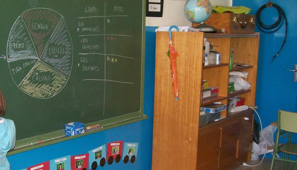Imatge d'una pissarra en un centre escolar.