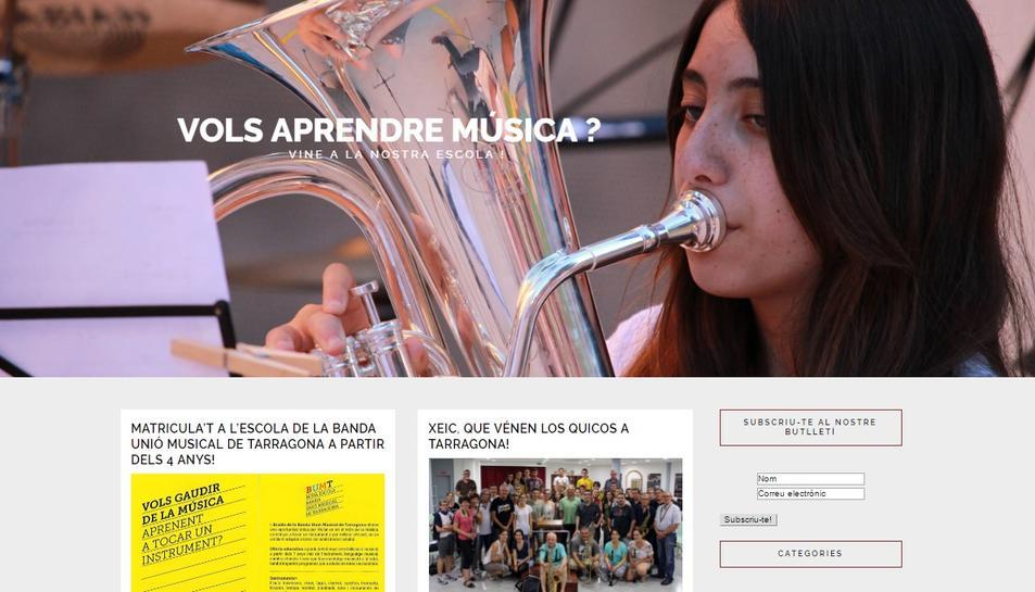 Imatge de l'aspecte de la nova web de la banda.