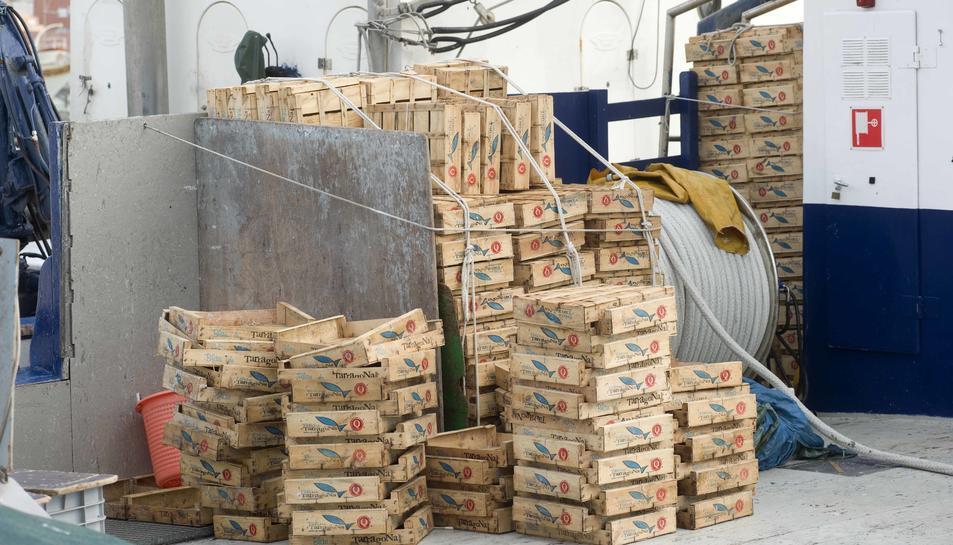 Imatge de caixes amb la marca de Peix Blau de Tarragona, que actualment no existeix.